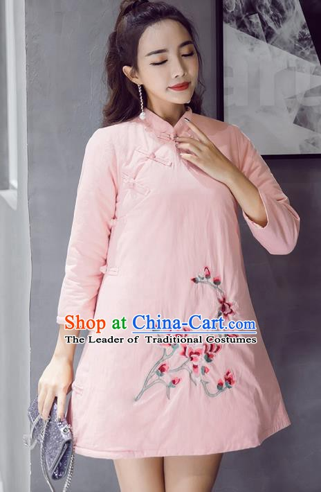 Traditional Chinese National Costume Hanfu Embroidered Magnolia Qipao Dress, China Tang Suit Cheongsam for Women