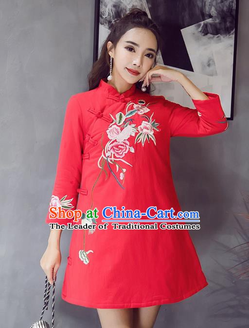 Traditional Chinese National Costume Hanfu Red Embroidered Qipao Dress, China Tang Suit Cheongsam for Women