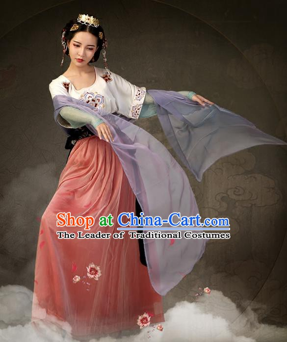 Traditional Chinese Tang Dynasty Palace Lady Ancient Princess Embroidered Dance Costume for Women