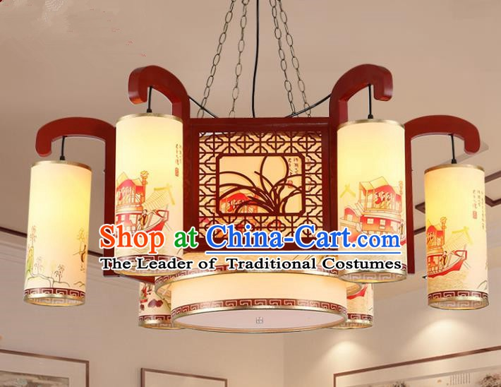 Traditional Chinese Handmade Sheepskin Lantern Classical Wood Carving Orchid Palace Lantern China Ceiling Palace Lamp