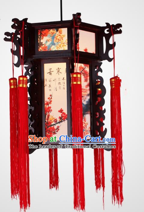 Traditional Chinese Handmade Printing Wintersweet Lantern Classical Wood Carving Palace Lantern China Ceiling Palace Lamp