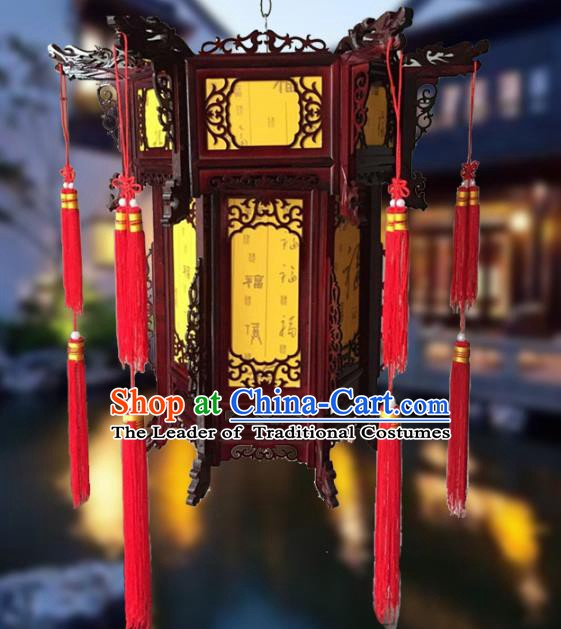 Traditional Chinese Handmade Yellow Sheepskin Lantern Classical Palace Lantern China Wood Carving Ceiling Palace Lamp