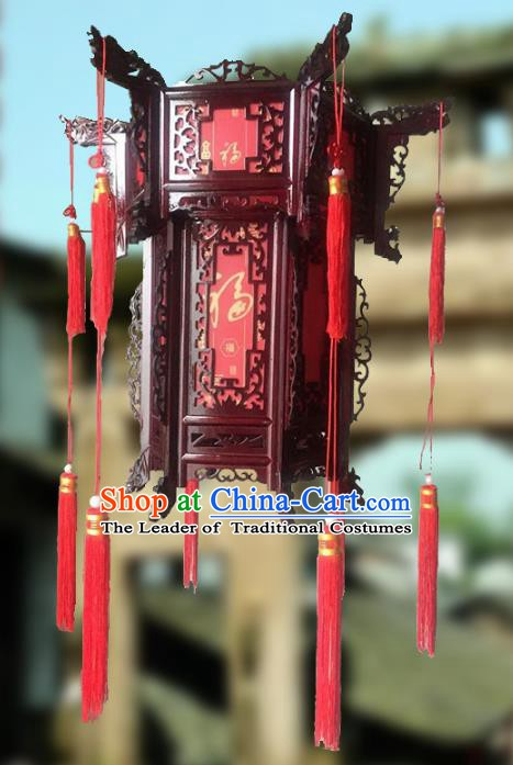 Traditional Chinese Handmade Hexagon Lantern Classical Wood Palace Lantern China Ceiling Palace Lamp