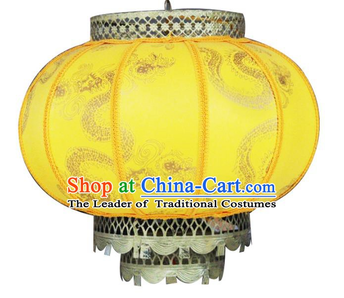 Traditional Chinese Handmade Yellow Sheepskin Ceiling Lantern Classical Round Palace Lantern China Palace Lamp