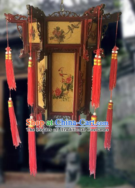 Traditional Chinese Handmade Woodcarving Printing Peony Sheepskin Ceiling Lantern Classical Palace Lantern China Palace Lamp