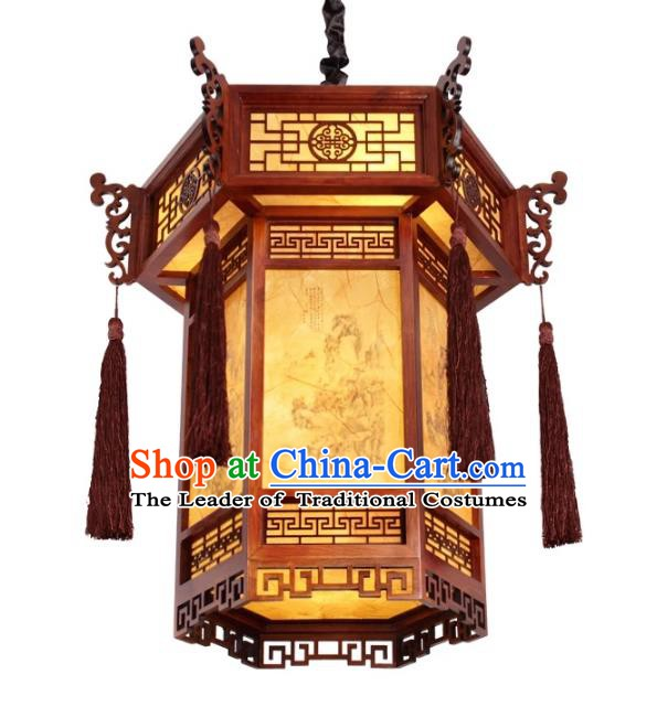Traditional Chinese Handmade Ceiling Sheepskin Lantern Classical Wood Palace Lantern China Palace Lamp