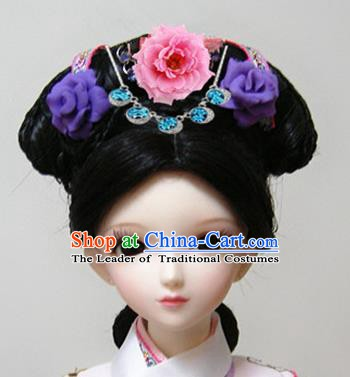 Traditional Handmade Chinese Ancient Qing Dynasty Manchu Palace Lady Hair Accessories Hairpins and Wig Complete Set for Women