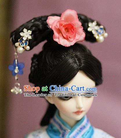 Traditional Handmade Chinese Ancient Qing Dynasty Manchu Princess Hair Accessories Palace Lady Wig for Women
