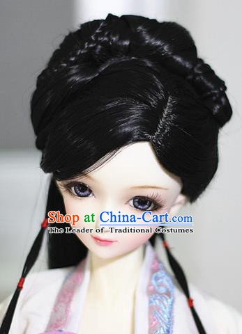 Traditional Handmade Chinese Ancient Ming Dynasty Princess Wig Sheath Palace Lady Wig for Women