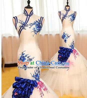 Chinese Style Wedding Catwalks Costume Wedding Bride Printing Peony Trailing Full Dress Fishtail Cheongsam for Women