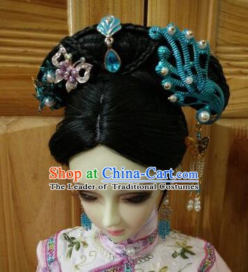 Traditional Handmade Chinese Qing Dynasty Princess Wig Sheath Ancient Manchu Princess Wiggery for Women