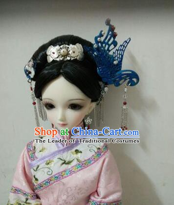 Traditional Handmade Chinese Qing Dynasty Princess Wig Sheath Ancient Manchu Princess Headwear Wiggery for Women