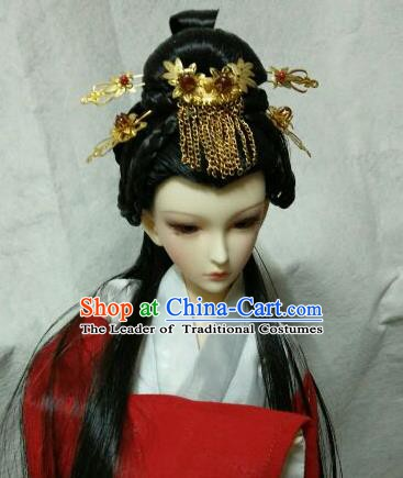 Traditional Handmade Chinese Tang Dynasty Princess Wig Sheath and Hair Accessories Headwear for Women