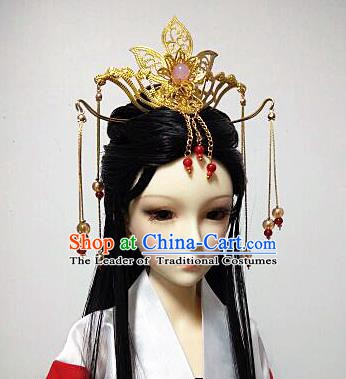 Traditional Handmade Chinese Tang Dynasty Imperial Consort Wig Sheath and Hair Accessories Headwear for Women