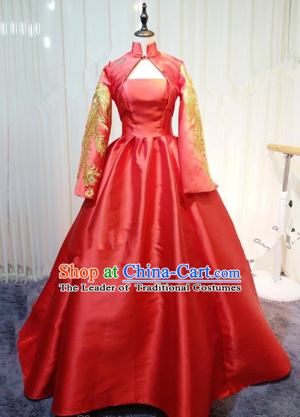 Chinese Style Wedding Catwalks Costume Wedding Red Fishtail Full Dress Compere Bride Embroidered Cheongsam for Women