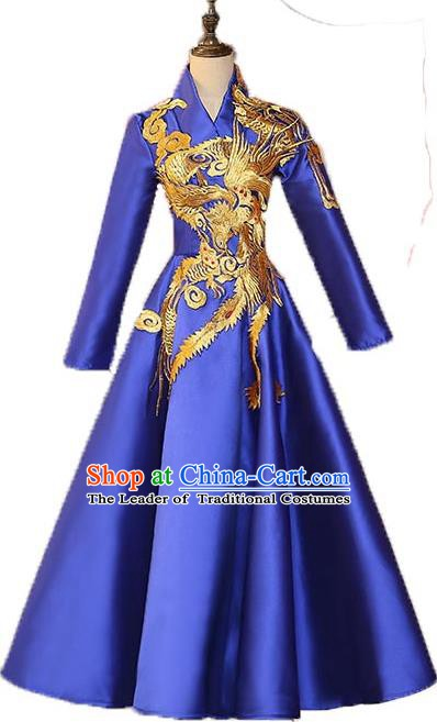 Chinese Style Wedding Catwalks Costume Wedding Bubble Full Dress Compere Embroidered Phoenix Cheongsam for Women