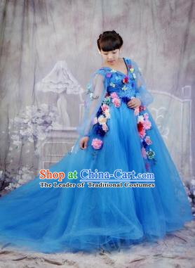 Chinese Style Wedding Catwalks Costume Wedding Bride Embroidered Bubble Full Dress Compere Clothing for Women