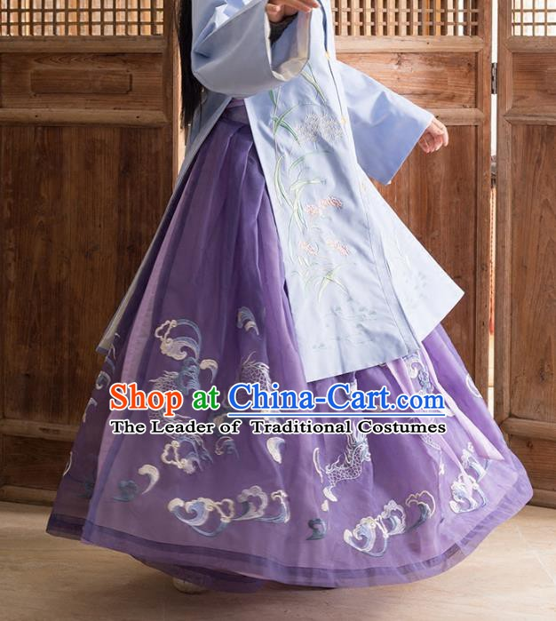 Traditional Chinese Ancient Ming Dynasty Princess Costume Embroidered Purple Skirt for Women