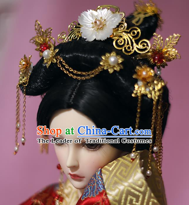Traditional Handmade Chinese Tang Dynasty Palace Lady Hair Accessories Hairpins and Wig for Women