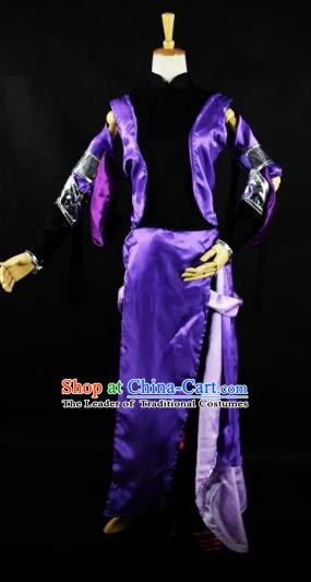 Traditional Chinese Ancient Cosplay Swordsman Purple Clothing for Women