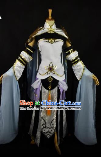 Traditional Chinese Ancient Taoist Nun Hanfu Costume Tang Dynasty Swordswoman Clothing for Women