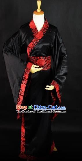 Traditional Chinese Ancient Scholar Hanfu Costume, China Han Dynasty Swordsman Clothing for Men