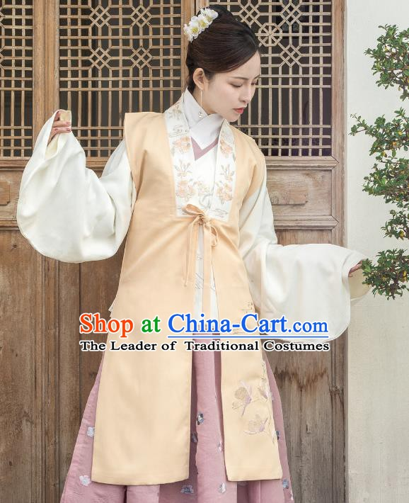 Traditional Chinese Ming Dynasty Dowager Costume Ancient Palace Lady Embroidered Vests for Women