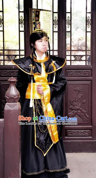 Traditional Chinese Ancient Emperor Hanfu Costume, China Han Dynasty King Clothing for Men
