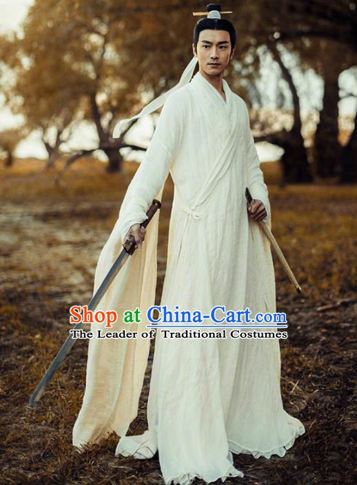 Traditional Chinese Zhou Dynasty Jiang Ziya Costume Ancient Military Counsellor Clothing for Men