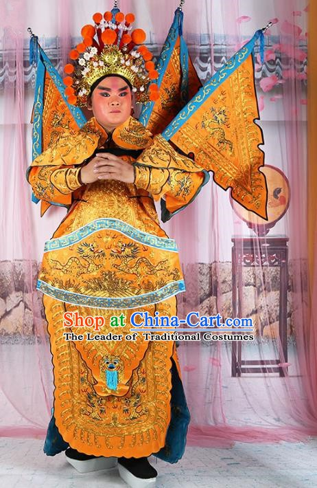 Chinese Beijing Opera General Yellow Embroidered Costume, China Peking Opera Military Officer Embroidery Gwanbok Clothing