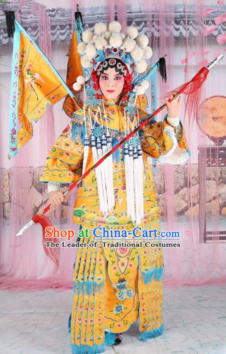 Chinese Beijing Opera Young Lady Embroidered Yellow Costume, China Peking Opera Actress Embroidery Clothing