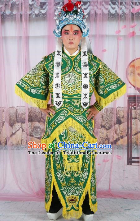 Chinese Beijing Opera Takefu Costume Green Embroidered Robe, China Peking Opera Warrior Embroidery Gwanbok Clothing