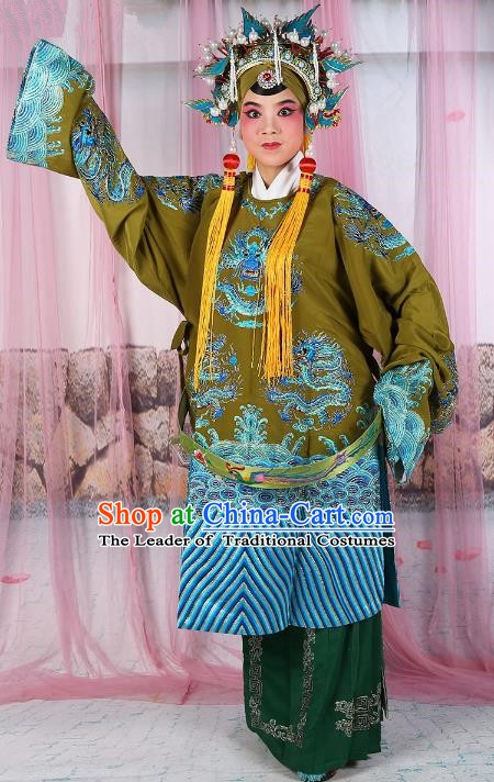 Chinese Beijing Opera Old Women Costume Green Embroidered Robe, China Peking Opera Pantaloon Embroidery Clothing