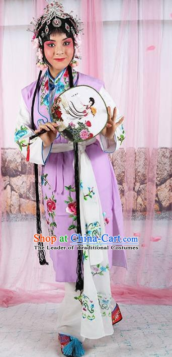 Chinese Beijing Opera Servant Girl Purple Embroidered Costume, China Peking Opera Actress Embroidery Clothing
