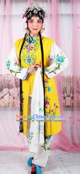 Chinese Beijing Opera Servant Girl Yellow Embroidered Costume, China Peking Opera Actress Embroidery Clothing