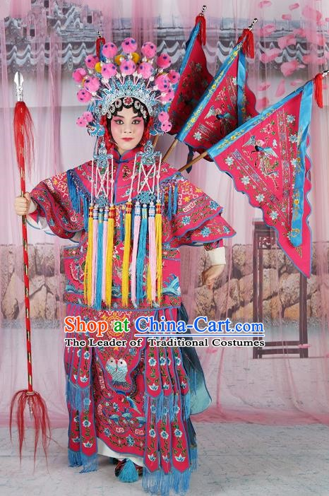 Chinese Beijing Opera Female General Costume Rosy Embroidered Robe, China Peking Opera Blues Embroidery Gwanbok Clothing