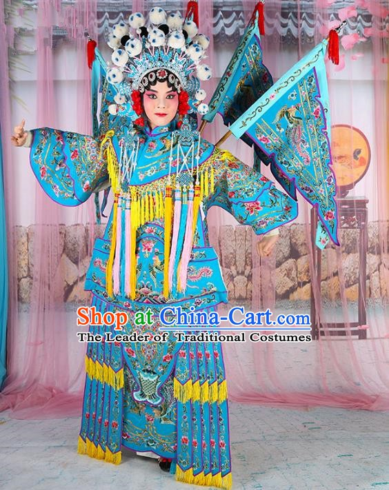 Chinese Beijing Opera Female General Costume Blue Embroidered Robe, China Peking Opera Blues Warrior Embroidery Gwanbok Clothing
