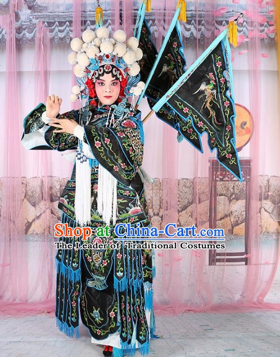 Chinese Beijing Opera Female General Costume Black Embroidered Robe, China Peking Opera Blues Warrior Embroidery Gwanbok Clothing