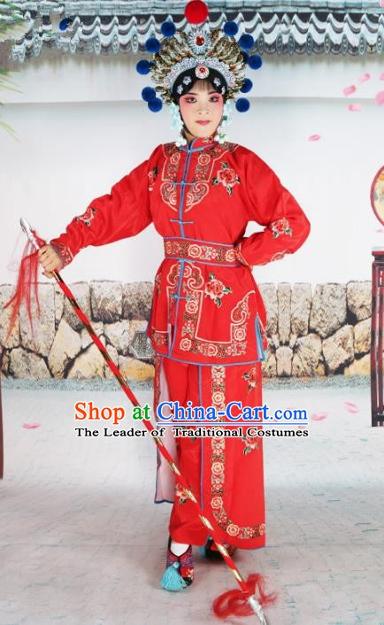 Chinese Beijing Opera Warrior Embroidered Red Costume, China Peking Opera Blues Actress Embroidery Clothing