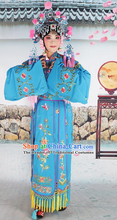 Chinese Beijing Opera Nobility Lady Embroidered Blue Costume, China Peking Opera Actress Embroidery Clothing