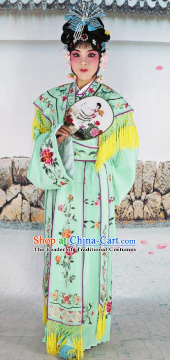 Chinese Beijing Opera Nobility Lady Princess Embroidered Green Costume, China Peking Opera Actress Embroidery Clothing