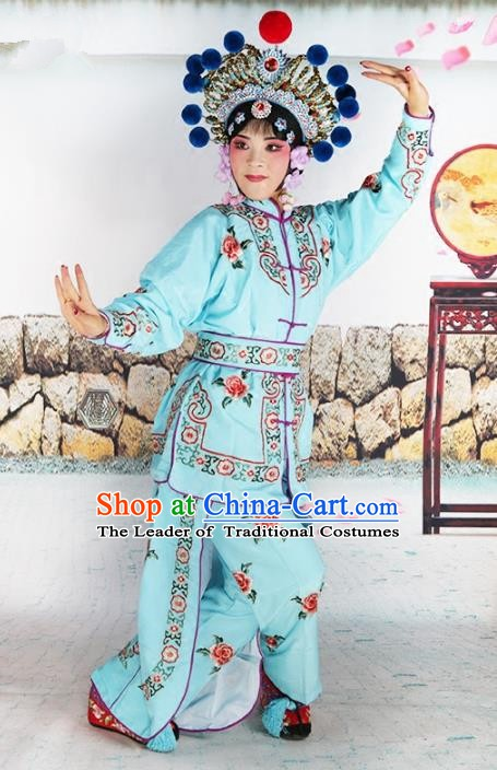 Chinese Beijing Opera Warrior Embroidered Blue Costume, China Peking Opera Blues Embroidery Clothing