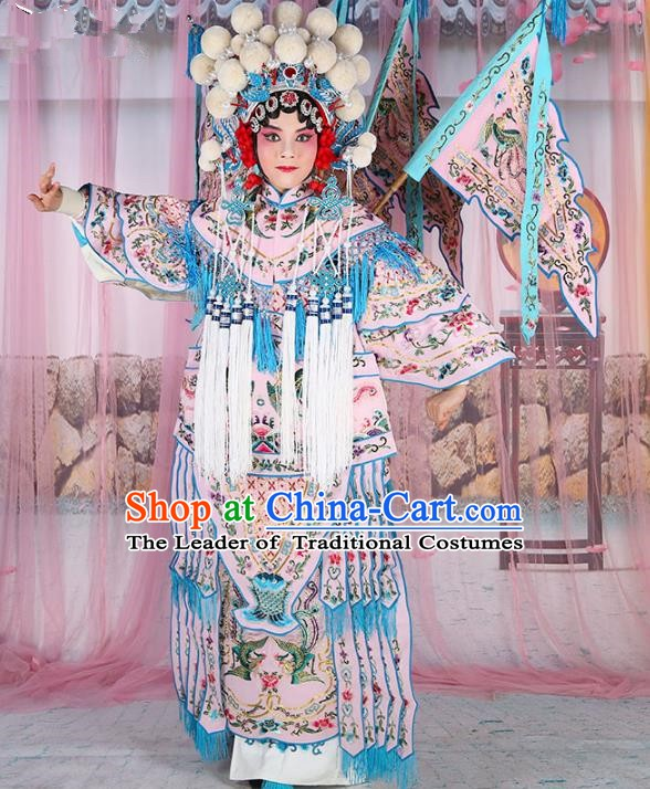 Chinese Beijing Opera Female General Costume Light Pink Embroidered Robe, China Peking Opera Blues Warrior Embroidery Gwanbok Clothing