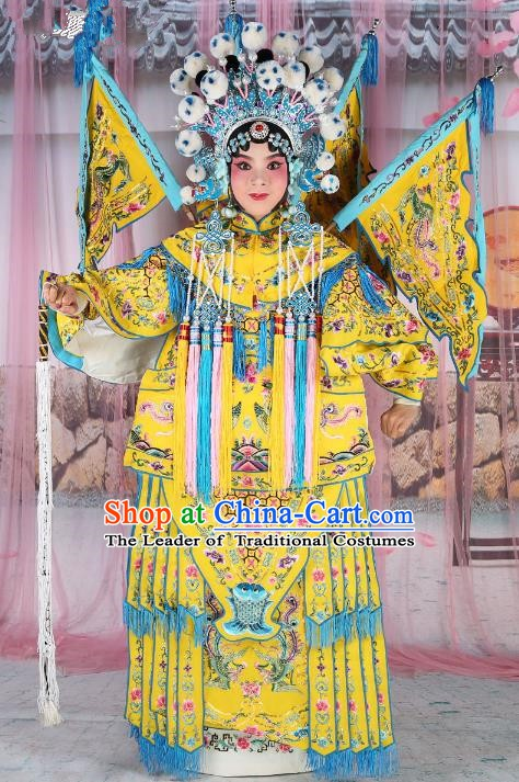 Chinese Beijing Opera Female General Costume Yellow Embroidered Robe, China Peking Opera Blues Warrior Embroidery Gwanbok Clothing