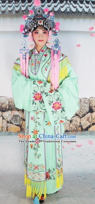 Chinese Beijing Opera Princess Green Embroidered Costume, China Peking Opera Actress Embroidery Clothing