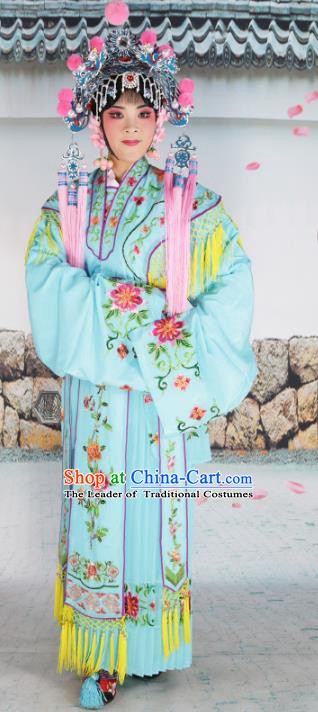 Chinese Beijing Opera Princess Blue Embroidered Costume, China Peking Opera Actress Embroidery Clothing