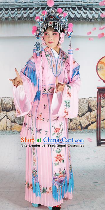 Chinese Beijing Opera Princess Pink Embroidered Costume, China Peking Opera Actress Embroidery Clothing