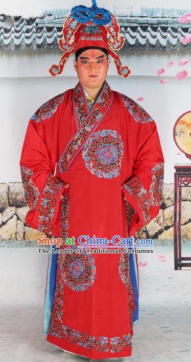 Chinese Beijing Opera Niche Costume Red Embroidered Robe, China Peking Opera Scholar Embroidery Clothing