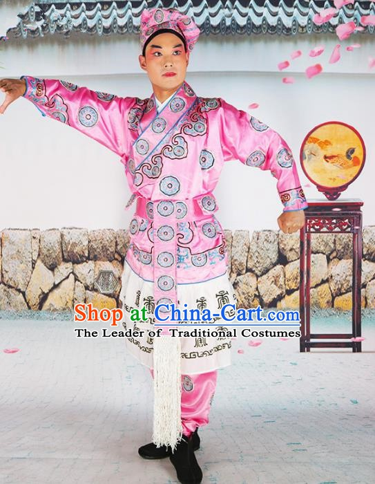 Chinese Beijing Opera Takefu Costume Pink Embroidered Robe, China Peking Opera Embroidery Clothing
