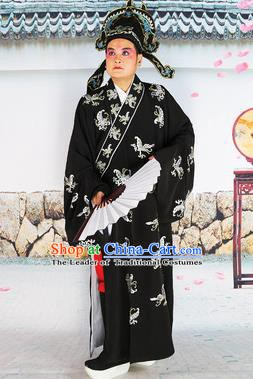 Chinese Beijing Opera Niche Costume Black Embroidered Robe, China Beijing Opera Scholar Embroidery Butterfly Clothing